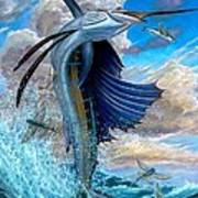 Sailfish And Flying Fish Poster by Terry Fox