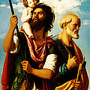 Saint Christopher With Saint Peter Poster by Digital Reproductions
