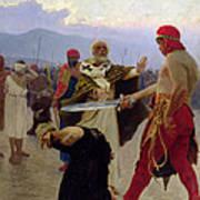 Saint Nicholas Of Myra Saves Three Innocents From Death Poster by Ilya Efimovich Repin