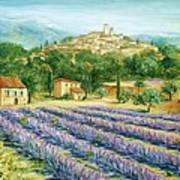 Saint Paul De Vence And Lavender Poster by Marilyn Dunlap