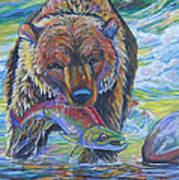Salmon Fishing Grizzly Poster by Jenn Cunningham