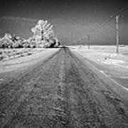 salt and grit covered rural small road in Forget Saskatchewan Canada Poster by Joe Fox