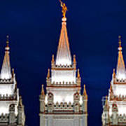 Salt Lake Lds Mormon Temple At Night Poster by Gary Whitton
