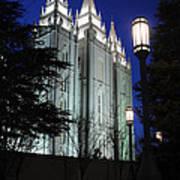 Salt Lake Mormon Temple At Night Poster by Gary Whitton