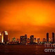 San Diego Cityscape At Night Poster by Paul Velgos