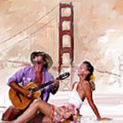 San Francisco Guitar Man Poster by Robert Smith