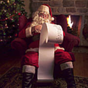 Santa Checking His List Poster by Diane Diederich