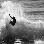 Santa Cruz Surfer Black And White Poster by Paul Topp