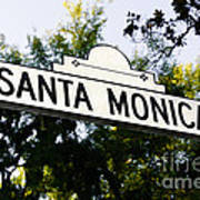 Santa Monica Blvd Street Sign In Beverly Hills Poster by Paul Velgos
