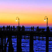 Santa Monica Pier Sunset Silhouettes Poster by Lynn Bauer