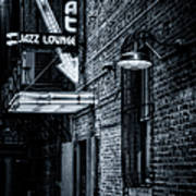 Scat Lounge In Cool Black And White Poster by Joan Carroll