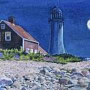 Scituate Light By Night Poster by Karol Wyckoff