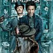 Scottish Terrier Art Canvas Print - Sherlock Holmes Movie Poster Poster by Sandra Sij