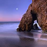 Sea Arch And Full Moon Over El Matador Poster by Tim Fitzharris