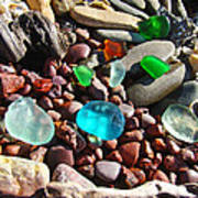 Sea Glass Art Prints Beach Seaglass Poster by Baslee Troutman
