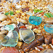 Seaglass Coastal Beach Rock Garden Agates Poster by Baslee Troutman