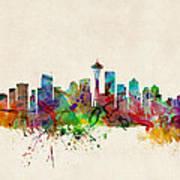 Seattle Washington Skyline Poster by Michael Tompsett