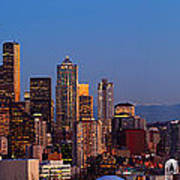 Seattle Winter Evening Panorama Poster by Inge Johnsson