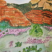 Sedona Mountain With Pears And Clover Poster by Marcia Weller-Wenbert