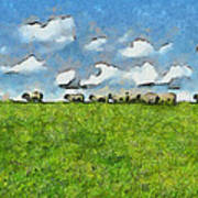 Sheep Herd Poster by Ayse Deniz