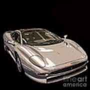 Silver Sports Car Poster by Edward Fielding