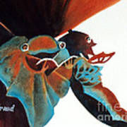 Singing Frog Duet 2 Poster by Kathy Braud