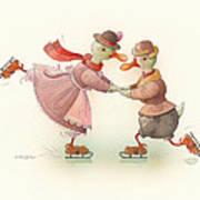 Skating Ducks 3 Poster by Kestutis Kasparavicius
