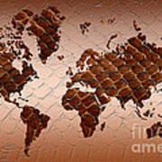 Snake Skin World Map Poster by Zaira Dzhaubaeva