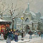 Snow Scene In Paris Poster by Eugene Galien-Laloue