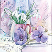 Snowdrops And Anemones Poster by Julia Rowntree