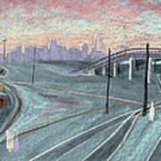 Soft Sunset Over San Francisco And Oakland Train Tracks Poster by Asha Carolyn Young
