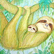 Soggy Mossy Sloth Poster by Nick Gustafson