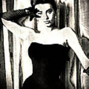 Sophia Loren - Black And White Poster by Absinthe Art By Michelle LeAnn Scott
