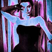 Sophia Loren - Blue Pop Art Poster by Absinthe Art By Michelle LeAnn Scott