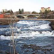 Spokane Falls In Winter Poster by Carol Groenen