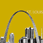 St Louis Skyline Gateway Arch - Gold Poster by DB Artist