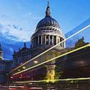 St. Pauls Cathedral And Light Trails Poster by Mark Thomas