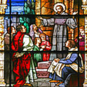 Stained Glass Window Saint Augustine Preaching Poster by Christine Till