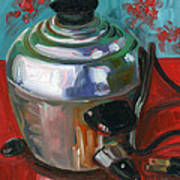 Stainless Steel Cooker Of Eggs Poster by Jennie Traill Schaeffer
