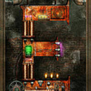 Steampunk - Alphabet - E Is For Electricity Poster by Mike Savad