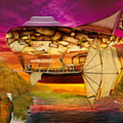 Steampunk - Blimp - Everlasting Wonder Poster by Mike Savad