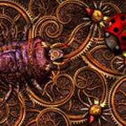 Steampunk - Insect - Itsy Bitsy Spiders Poster by Mike Savad