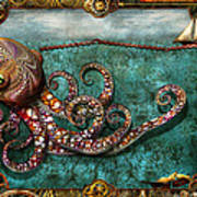 Steampunk - The Tale Of The Kraken Poster by Mike Savad