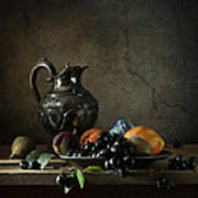 Still Life With A Jug And Fruit Poster by Diana Amelina