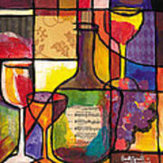 Still Life With Wine And Fruit Poster by Everett Spruill