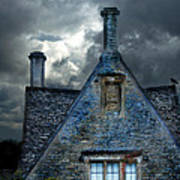 Stone Cottage In A Storm Poster by Jill Battaglia