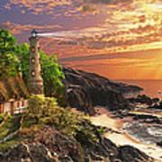 Stoney Cove Lighthouse Poster by Dominic Davison