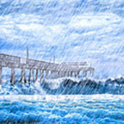 Storm Over The Sea - Tybee Pier Poster by Mark E Tisdale