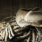 Straw Hat With Gloves On A Bale Of Hay Poster by Sandra Cunningham