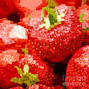 Strawberry Mosaic Poster by Anne Gilbert